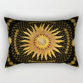 """Black & Gold Vault Mandala"" Rectangular Pillow"