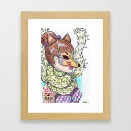 Girl Kitsune Framed Art Print
