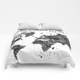 The world is a book, world map in black watercolor Comforters
