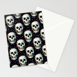 Gothic Skull and Stars Pattern Stationery Cards