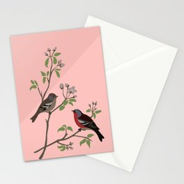 Peaceful harmony in the cherry tree - Illustration Stationery Cards