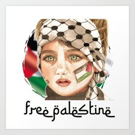Free Palestine in watercolor Art Print