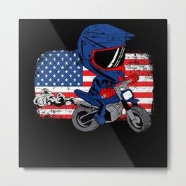 American Flag Drag Dirt Bike Racing Metal Print
