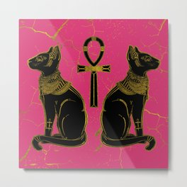 Sphinx Black & Gold Egyptian  cat on fuchsia Metal Print