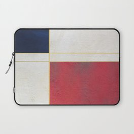Blue, Red And White With Golden Lines Abstract Painting Laptop Sleeve