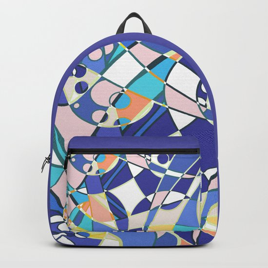Abstract curves pattern in retro colors print Backpack