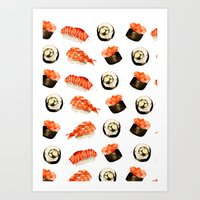 sushi Art Prints featuring Sushi by Jenny Viljaniemi