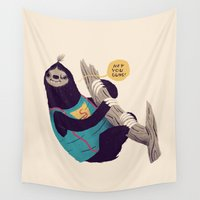 sloth Wall Tapestries featuring sloth by Louis Roskosch