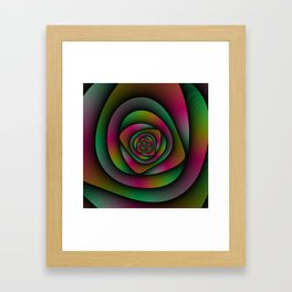 Spiral Labyrinth in Green Pink and Purple Framed Art Print