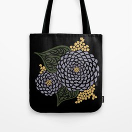 Dark Geometric Flower Tote Bag