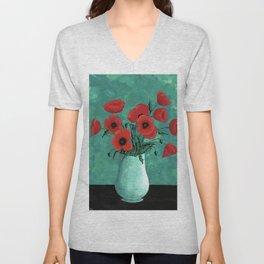 Red Poppies in a Vase Unisex V-Neck