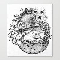 kitsune Canvas Prints featuring Kitsune by Owen Swerts