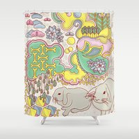 rabbits Shower Curtains featuring Rabbits by Raewyn Haughton