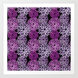 Pretty Purple Mum Floral Pattern Art Print