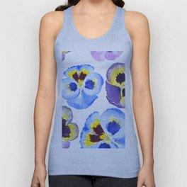pansies pattern watercolor painting Unisex Tank Top