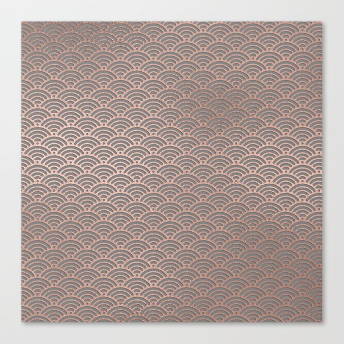 Rose gold mermaid pattern-on gray background Canvas Print