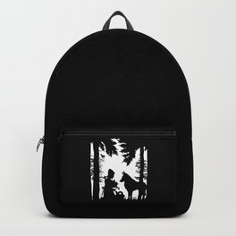 Black Silhouette Red Riding Hood Wolf in Woods Trees Backpack