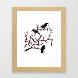 Ravens on cherry tree Framed Art Print