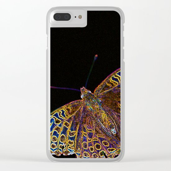 Butterfly on a black background Clear iPhone Case