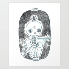 Four of Coins Skeleton Tarot Art Print