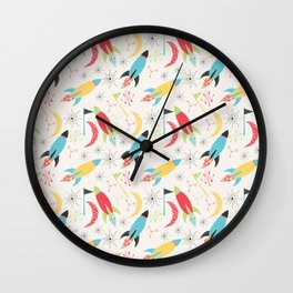 Out of Space, Planets, Stars Children's Pattern - White Wall Clock