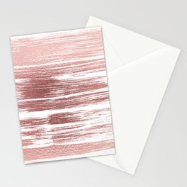 White elegant faux rose gold modern brushstrokes Stationery Cards