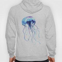 Blue & Purple Abstract Watercolor Jellyfish on White Minimalist Art Coast - Sea - Beach - Shore Hoody