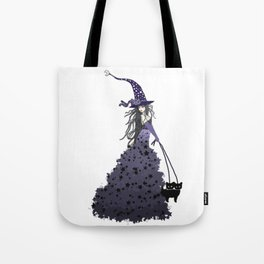 Witch Walking Two Black Cats with Star and Moon Hat in Purple Tote Bag