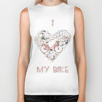 brompton Biker Tanks featuring I Love My Bike by Wyatt Design