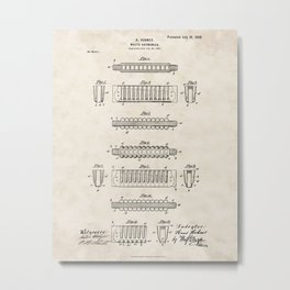 Mouth Harmonica Vintage Patent Hand Drawing Metal Print