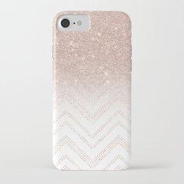 Modern faux rose gold glitter ombre modern chevron stitches pattern iPhone Case