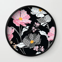 Paper Flowers in Pink Black and White Wall Clock