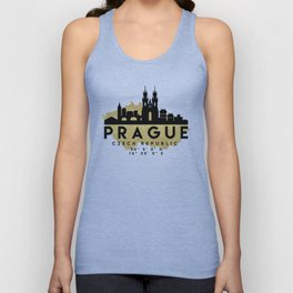 PRAGUE CZECH REPUBLIC SILHOUETTE SKYLINE MAP ART Unisex Tank Top