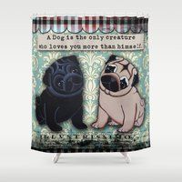puppies Shower Curtains featuring Black and Fawn Pug Puppies by Two Dancing Crows