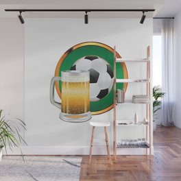 Beer and Soccer Ball in green circle Wall Mural