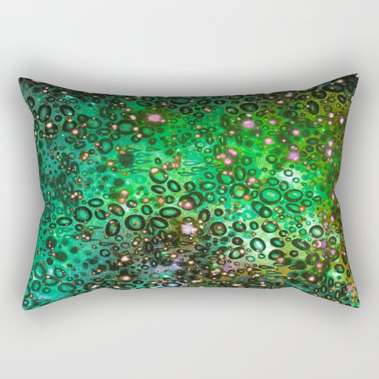 RAINBOW DOTTY OCEAN 3 Green Lime Ombre Space Galaxy Colorful Polka Dot Bubbles Abstract Painting Art Rectangular Pillow