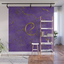 Golden Embossed Yin yangsymbol  on purple Wall Mural