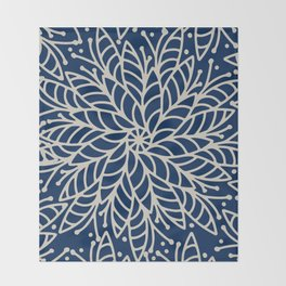 Modern navy blue ivory hand painted floral mandala Throw Blanket