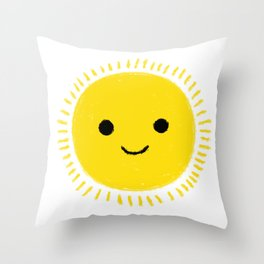 Happy yellow sun drawing with smily face Throw Pillow