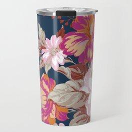 Vintage Floral on Blue Travel Mug