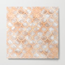 Rose Gold Marble Mermaid Scales Metal Print