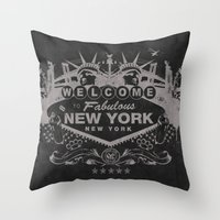 sin city Throw Pillows featuring Sin City (Black) by Gusto NYC