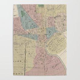 Vintage Map of Newark NJ (1879) Poster