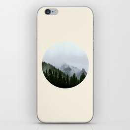 Pine Trees & Snow Mountains Circle Photo iPhone Skin