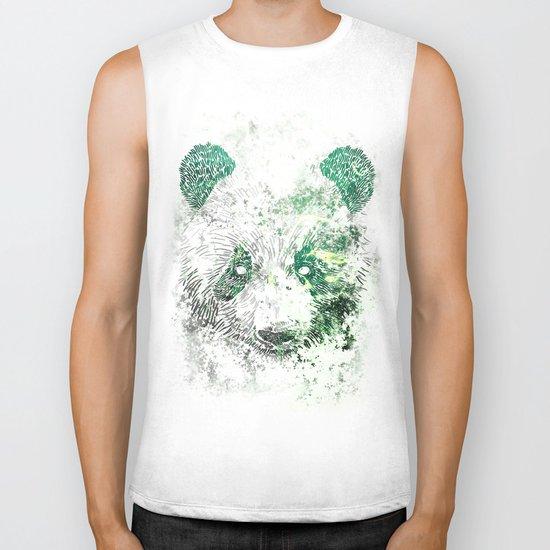 Green Panda Bear Biker Tank