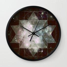Galaxy Sacred Geometry: Dark Rhombic Hexecontahedron Wall Clock