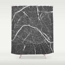 Paris France Minimal Street Map - Grey on White Shower Curtain
