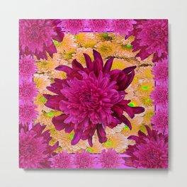 Stylized  Burgundy Purple & Yellow Chrysanthemums Floral Garden Metal Print