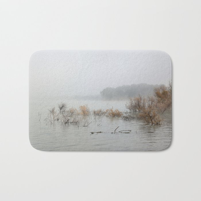 """Foggy sunrise at the lake"". Bath Mat"