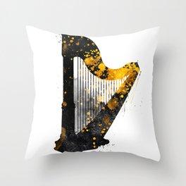 Harp music art gold and black #harp #music Throw Pillow
